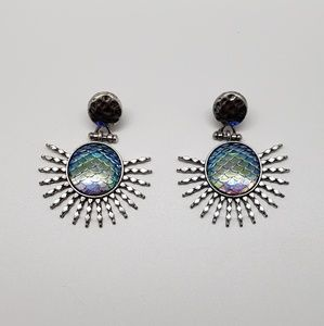 Mermaid Scale Iridescent Sunburst Earrings